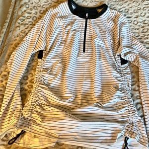 CALIA Striped Quarter Zip with Ruched Sides